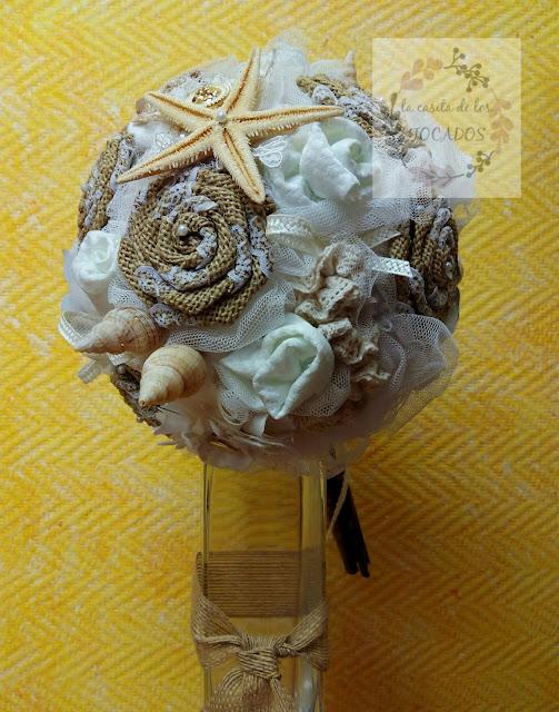 ramo para novia vintage totalmente artesanal con detalles de mar