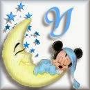 Alfabeto de Mickey Bebé durmiendo en la luna Y.