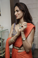 Shilpa Reddy in Orange Saree Slevless Blue Blouse with Designer Hip-Belt Stunning Beauty