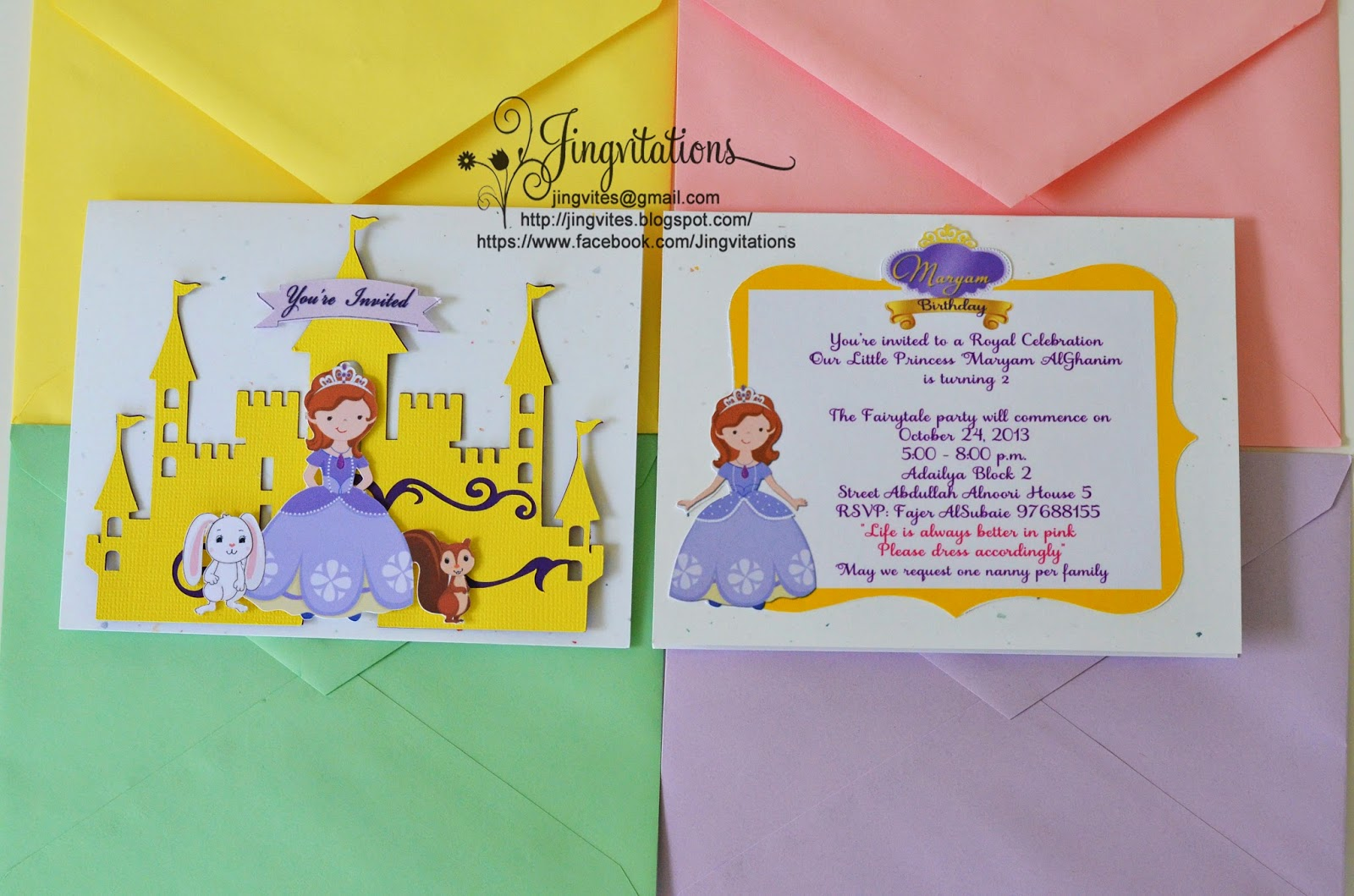 birthday and baby shower invitations  princess sofia the