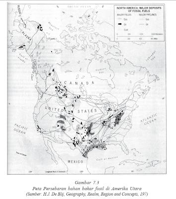 Pesebaran Bahan Bakar Fosil Amerika Serikat dan Kanada