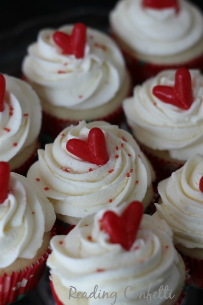 Top your Valentine's Day cupcakes with a simple heart made from candy