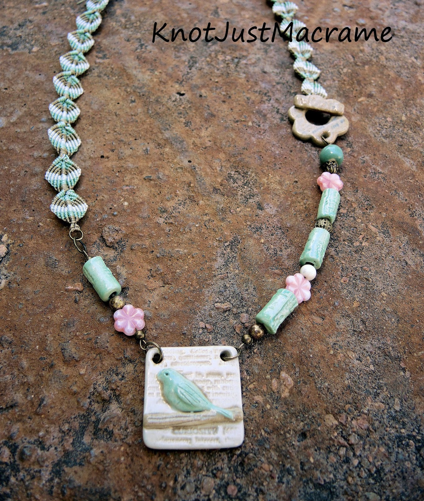 Necklace with micro macrame by Sherri Stokey and ceramic components by Blu Mu