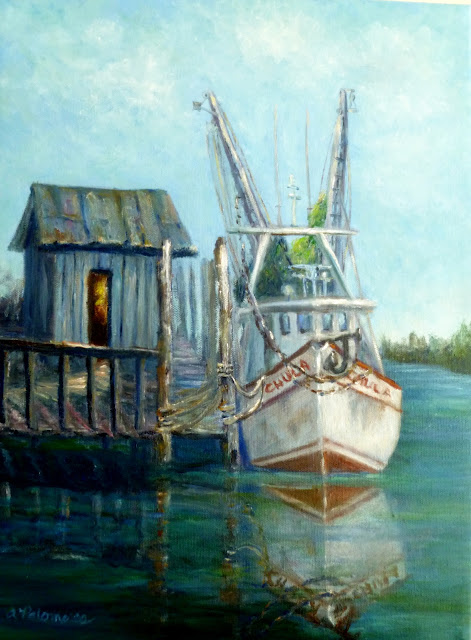 Pianting of an old shrimp boat by a dock and shet