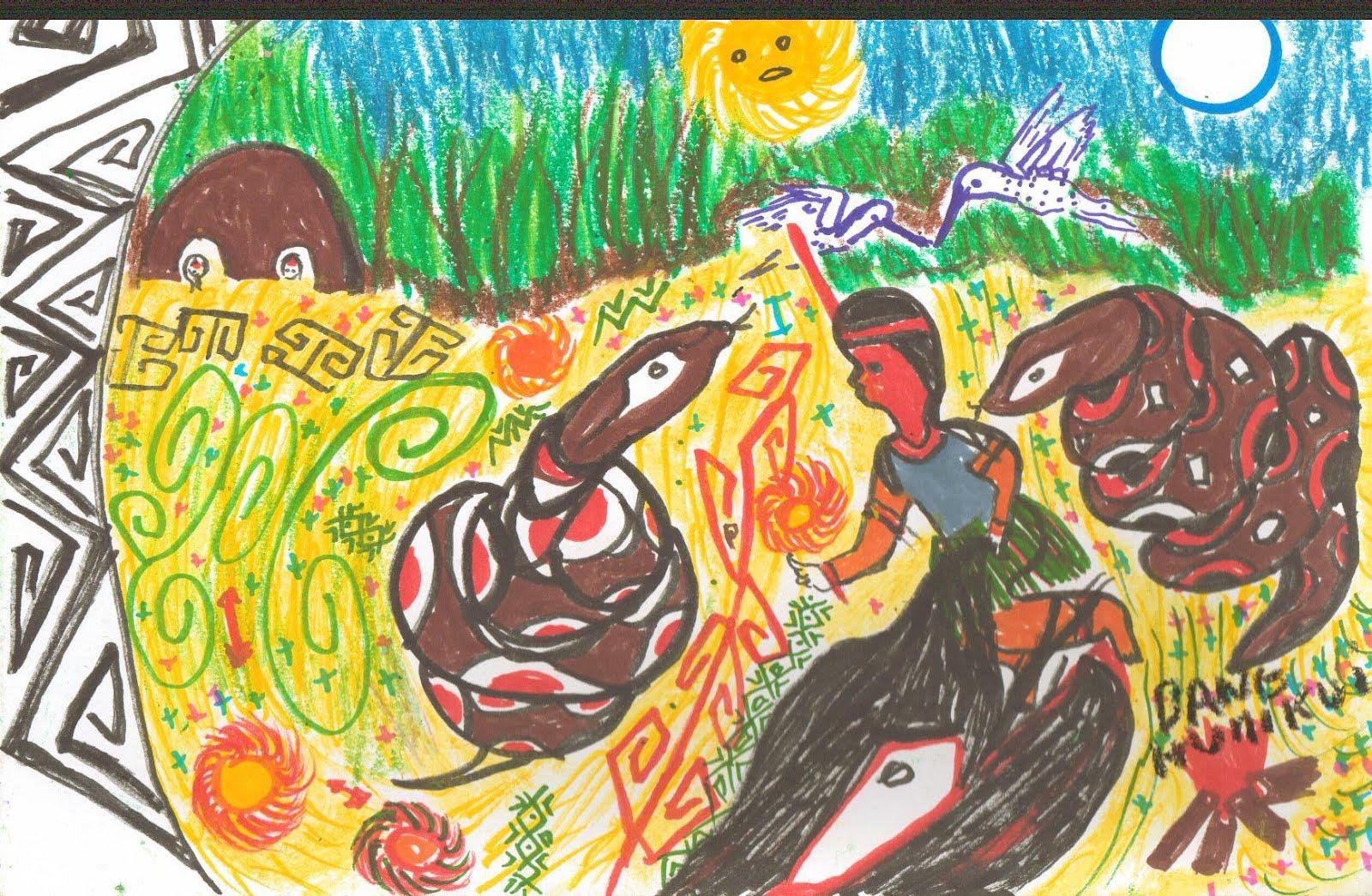 Artesanato Huni Kuin ~ Jornada das Deusas Mito da Jibóia do povo Huni Kuin