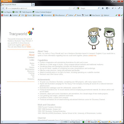 Screen shot of http://www.tracyworld.co.uk/about/.