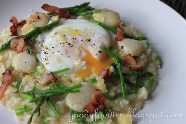 ... Recipe: Asparagus and scallop risotto with poached egg and bacon bits