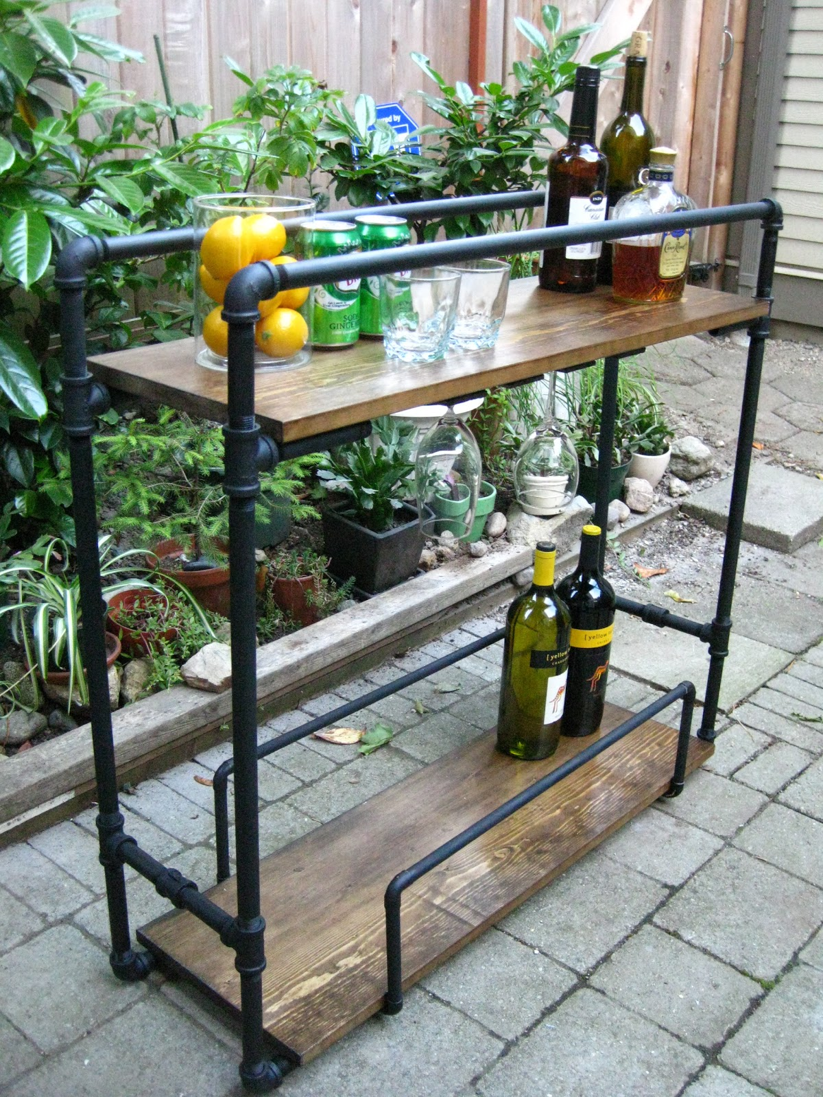 Life designed diy pipe bar cart for Wood outdoor bar ideas