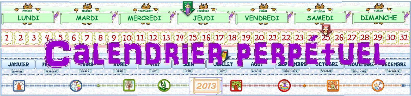 Ipot me t me calendrier perp tuel 4 versions fran ais allemand n erlandais anglais ou - Calendrier perpetuel a imprimer ...
