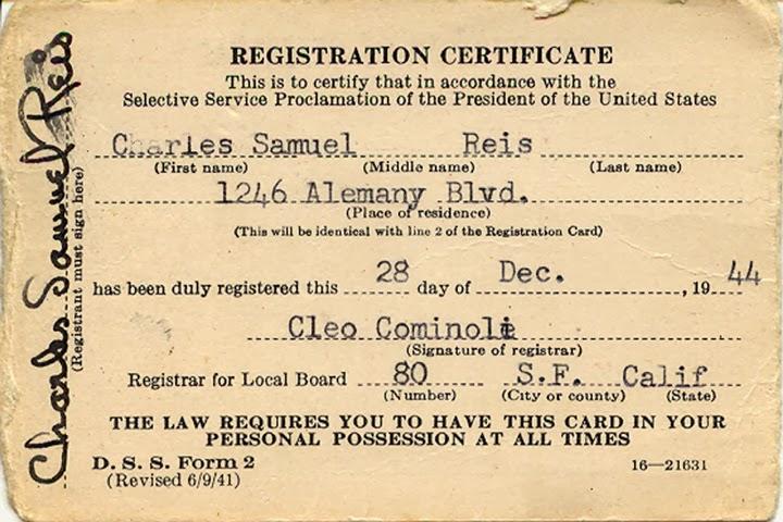 1944 Selective Service Card