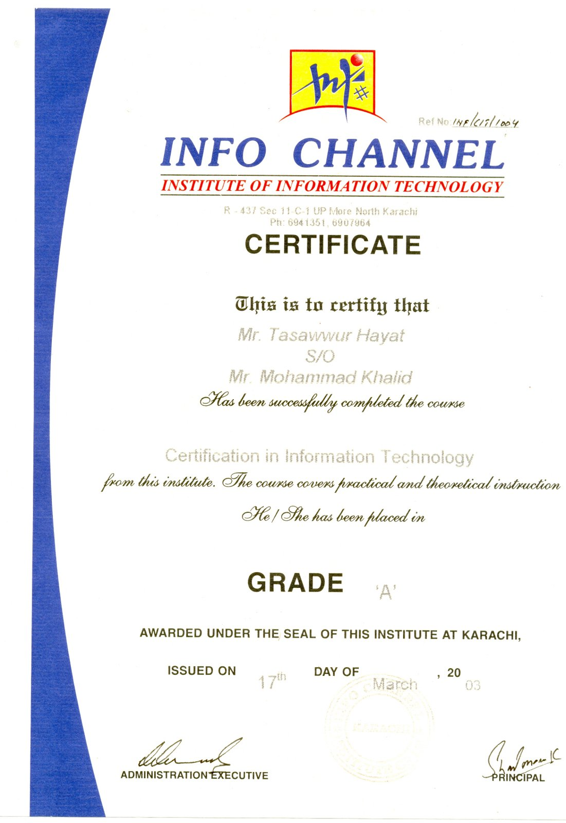 Welcome image gallery certificate in information technology xflitez Choice Image