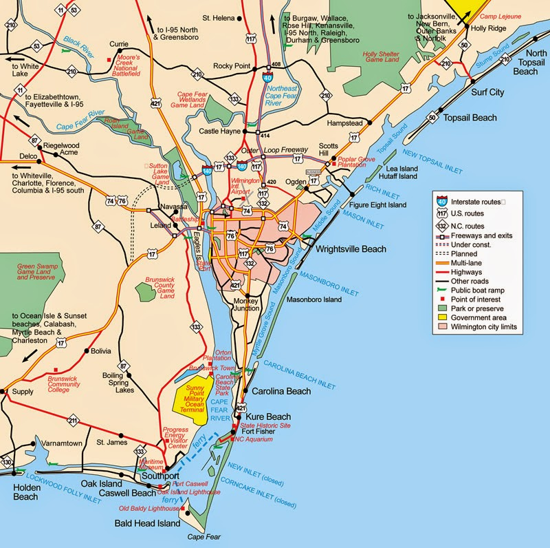 Basic overview of Wilmington NC City Map for download. With surrounding suburbs.