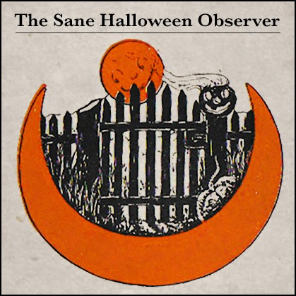 Vintage orange black Halloween sketch featuring pumpkins on a gate under a full moon.