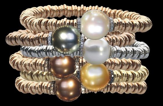 brasalet oro diamantes perlas