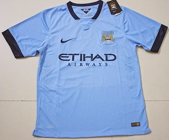Jersey Player Issue Manchester City Soccer Jersey 2014-2015 Home
