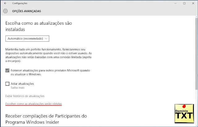 DominioTXT - Updates Opções Avançadas W10