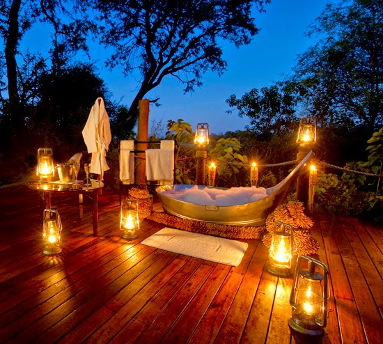 Safari Fusion blog | Bath with a view | Bathing under the stars on your private deck at Sanctuary Baines' Camp, Okavango Delta Botswana
