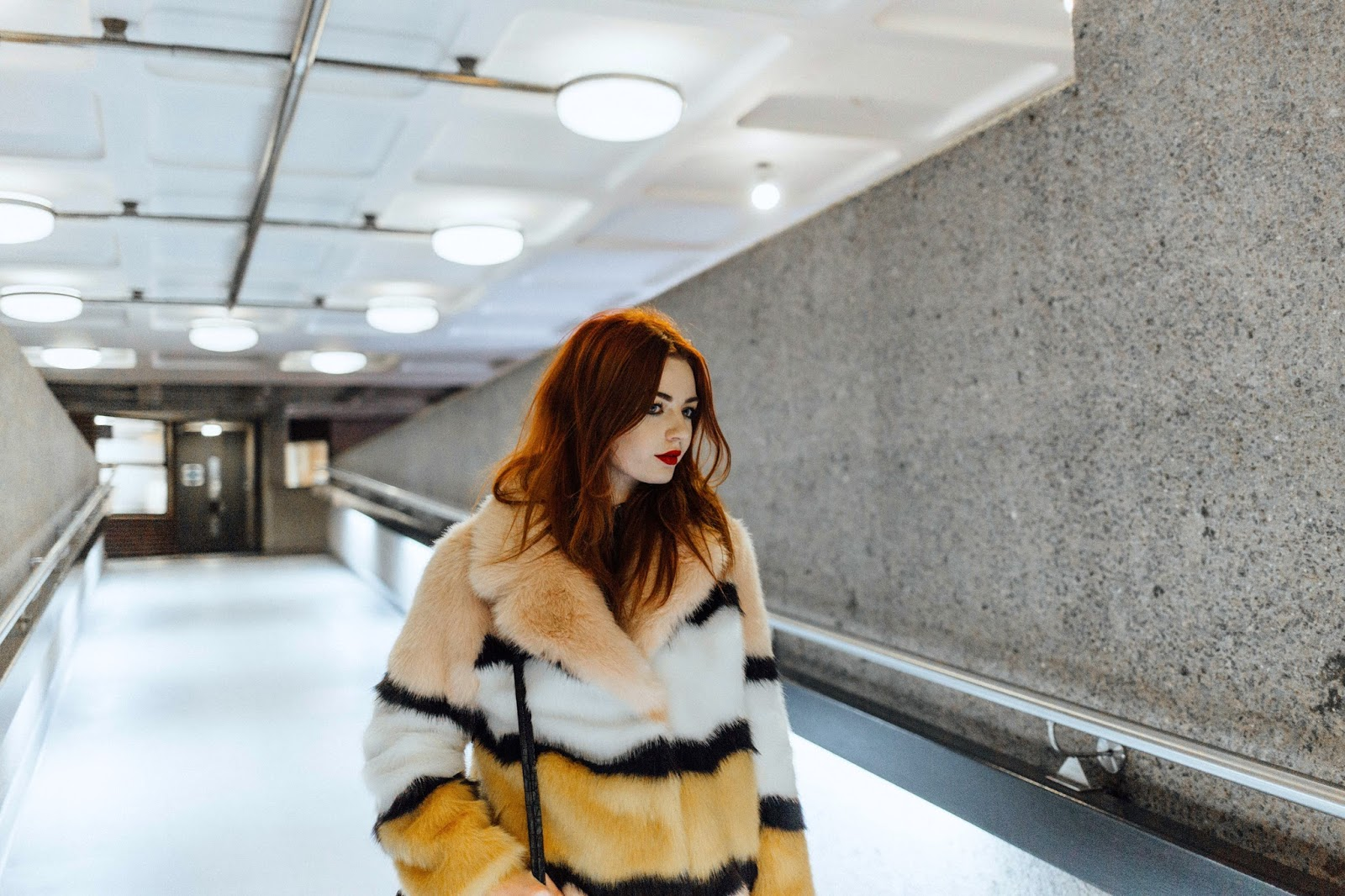 striped statement faux fur coat