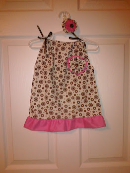 Brown Polka Dot with Pink Ruffle and Flower Pillowcase Dress