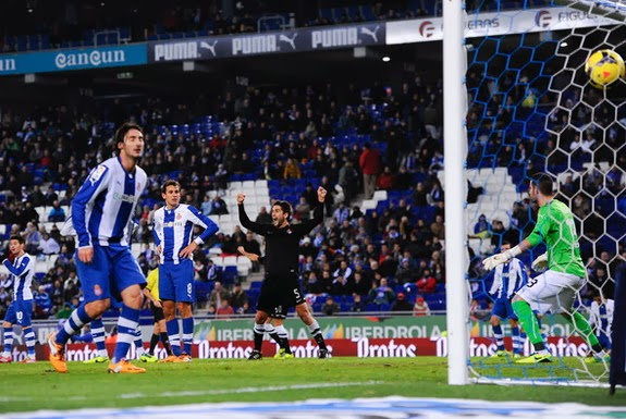 Sociedad player Markel Bergara celebrates after Espanyol's Christian Stuani scored an own goal