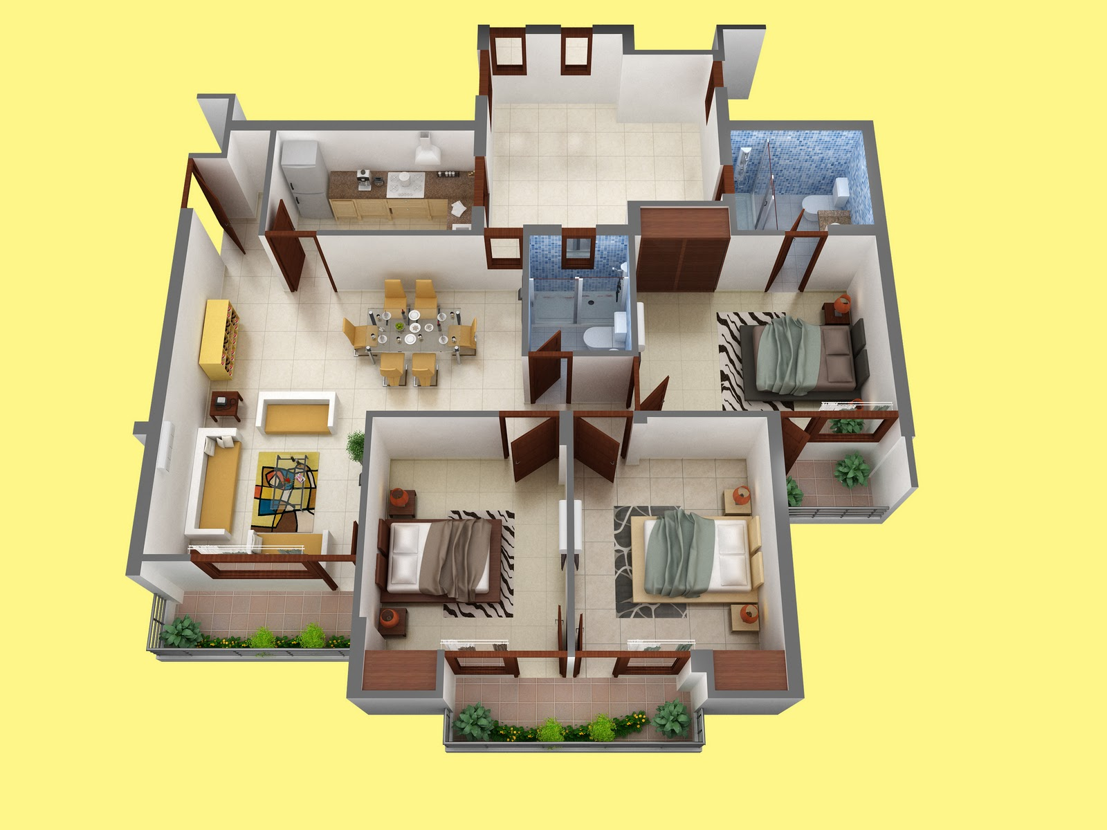 Kids Bedroom 3D Floor Plan