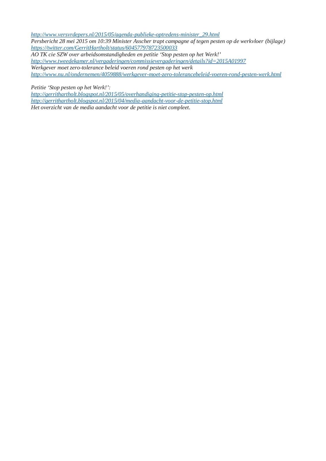 weblog gerrit hartholt: persbericht: gepest op de werkvloer gepest