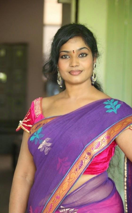 Jayavani Aunty Hot Navel Images In Transparent Half Saree ...
