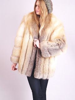 Vintage golden brown dimensional colored fluffy fox fur coat