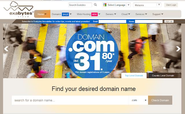 Domain .Com Serendah RM31.80/3years Dari Exabytes