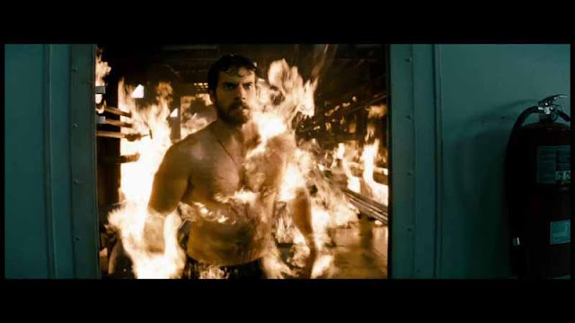 man of steel clark kent on fire