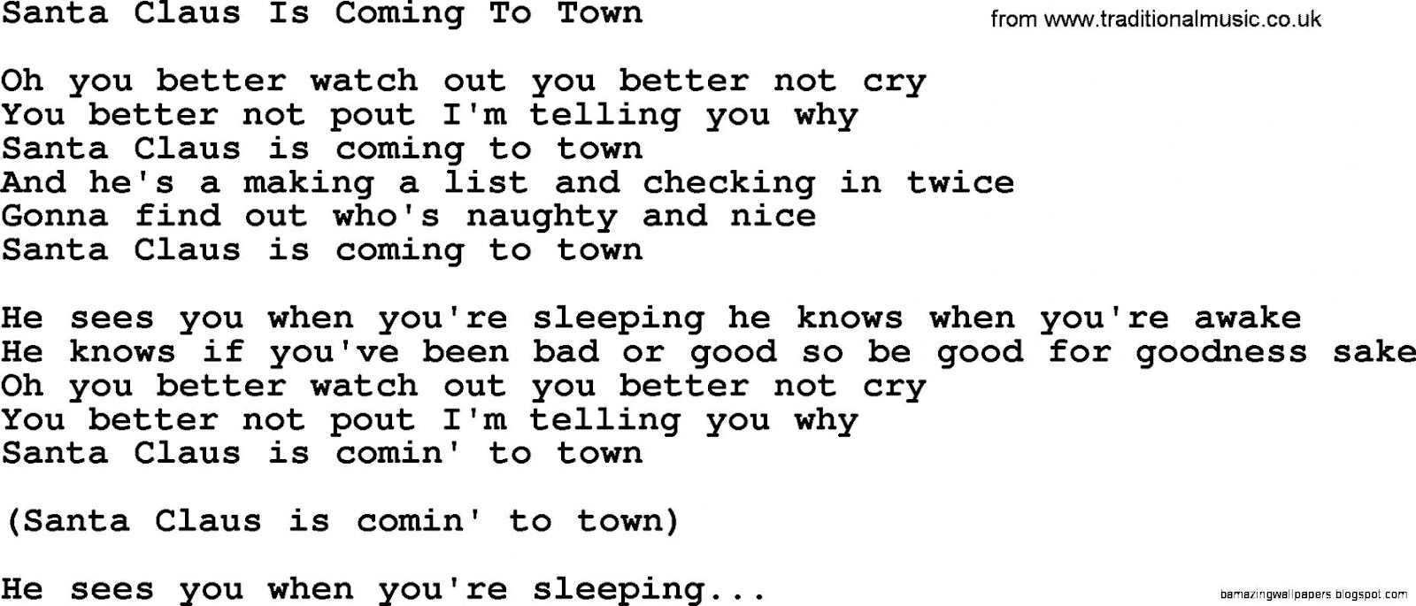 Dolly Parton song Santa Claus Is Coming To Town lyrics