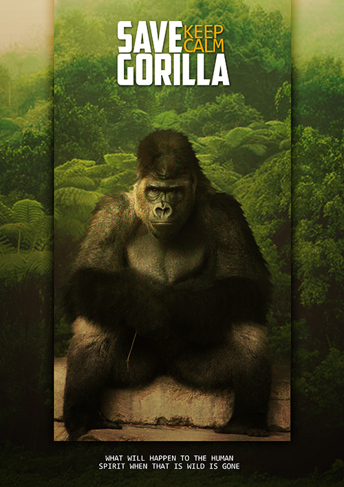 Create Save Gorilla Poster With Photo Effect Photoshop Tutorial