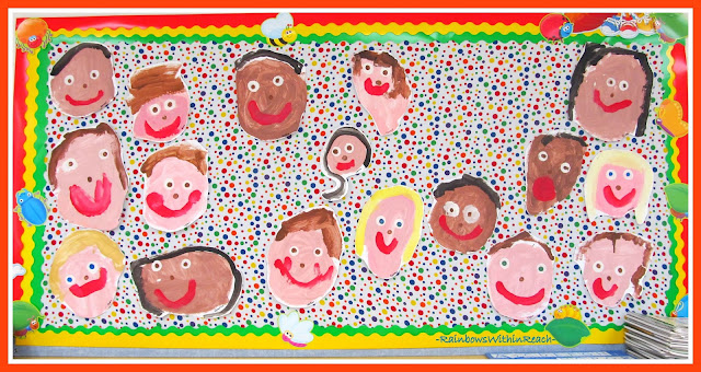 photo of: Kindergarten Painted Portraits via RainbowsWithinReach Bulletin Board RoundUP