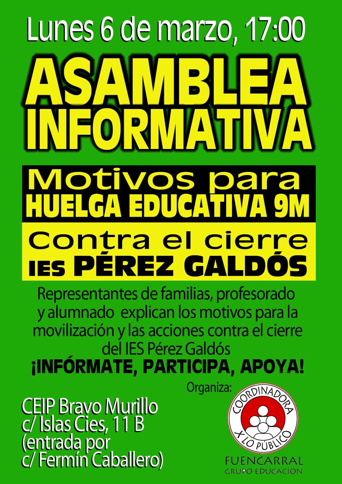 6 de marzo Asamblea Enseñanza Pública y de Calidad