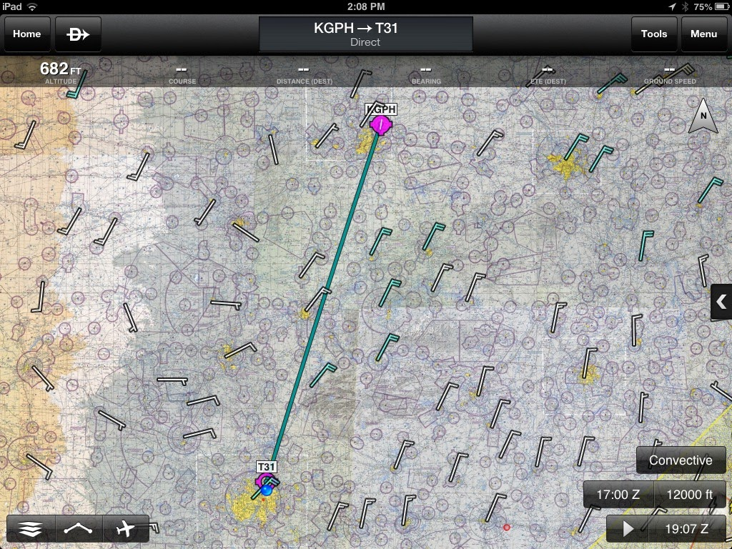 route kansas city to dallas with winds aloft at 12 000 ft