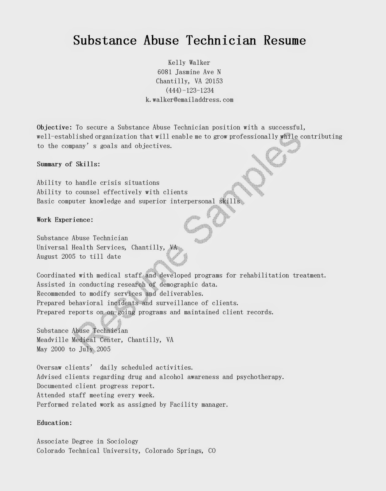 substance abuse technician resume sample