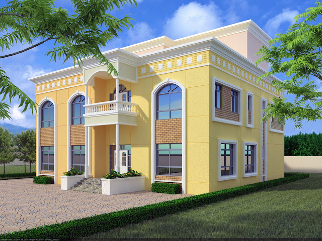 Front Elevation Villas : D front elevation saudi arabia arabian style villa