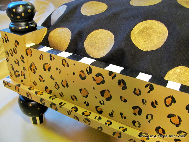 painted fabric with dots and hand made painted leopard print dog bed