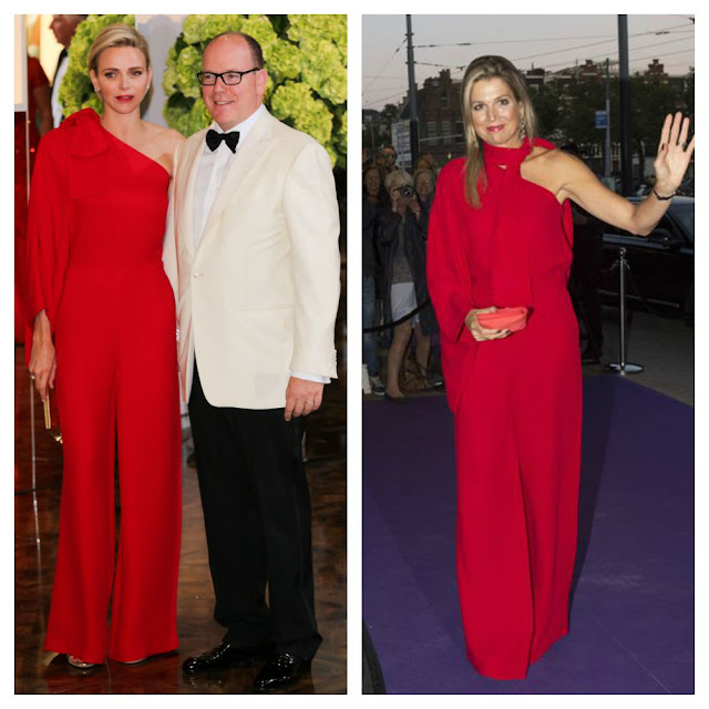 Queen Maxima Princess Charlene Valentino red jumpsuit