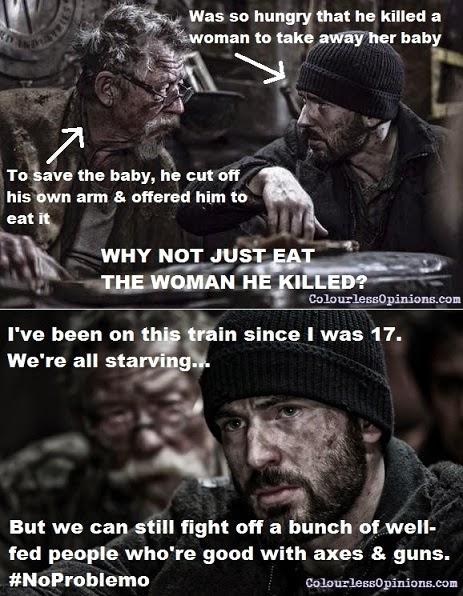John Hurt & Chris Evans in Snowpiercer movie still meme
