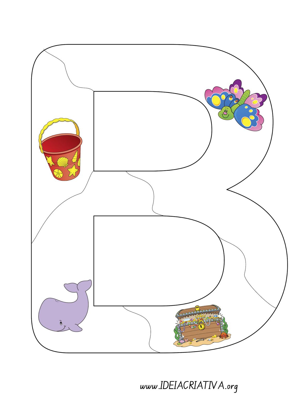 Quebra - cabeça letra B - Letra em Pedaços