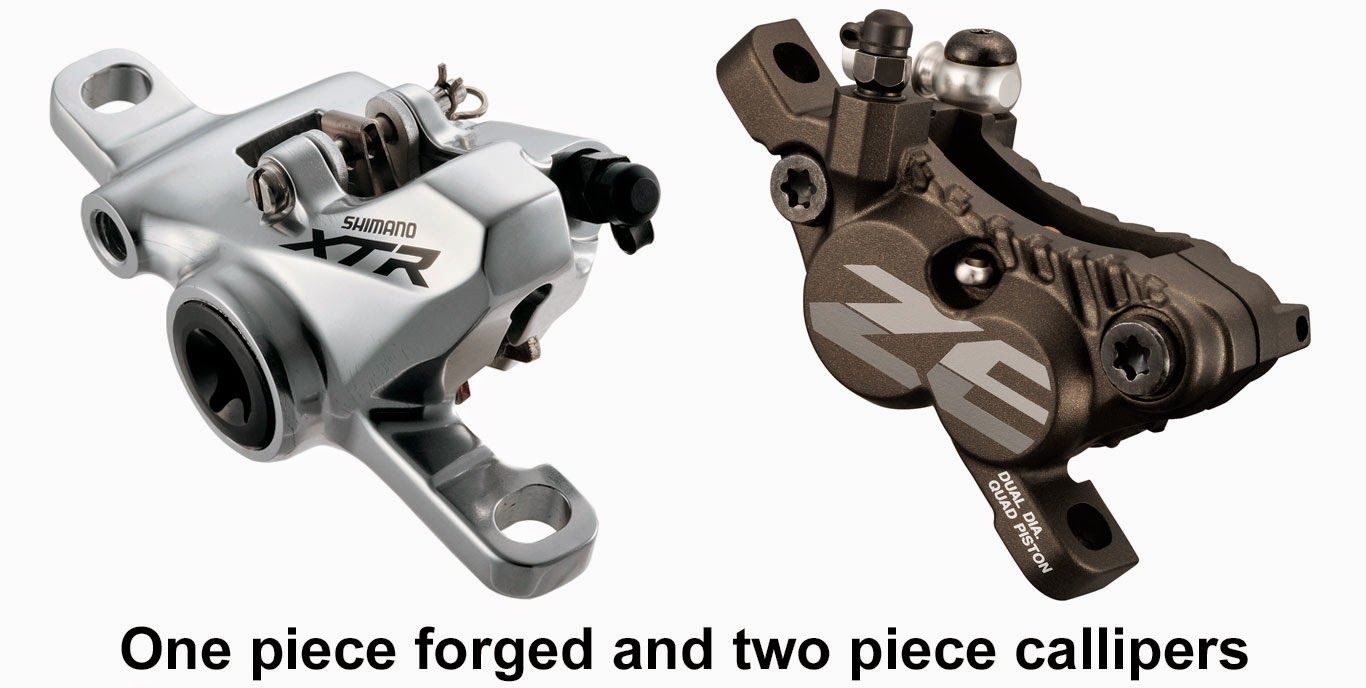 One piece forged and two piece bolted mtb callipers