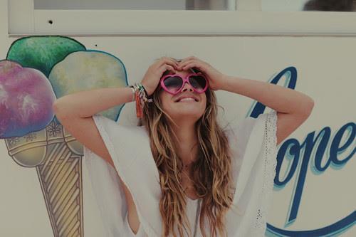 lunettes coeur, icr cream