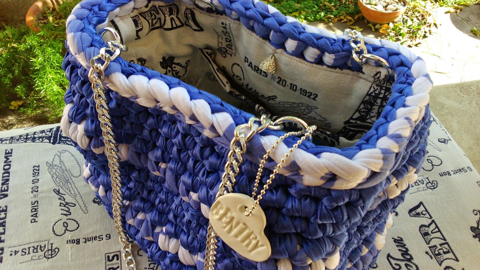 Borsa raso blu China inserti cotone rigato bianco e blu China