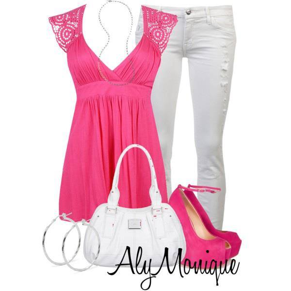 Pink and white dress combination for ladies
