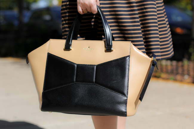 kate spade tan and black bag