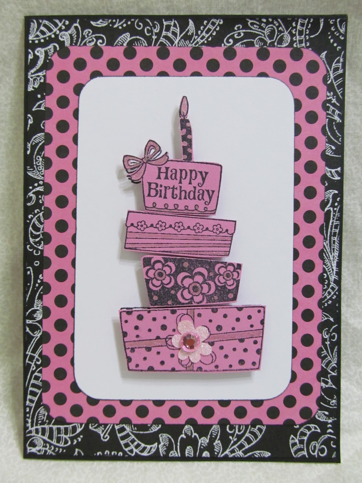 Birthday Cake Images Card : Savvy Handmade Cards: Happy Birthday Pink Cake Card