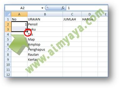 Gambar: Cara membuat nomor otomatis di Microsoft Excel