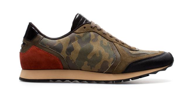 zapatillas con estampado militar de zara