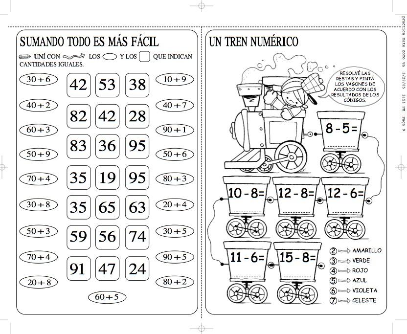Único Ejercicios De Matemáticas Para Los Niños Festooning - hojas ...